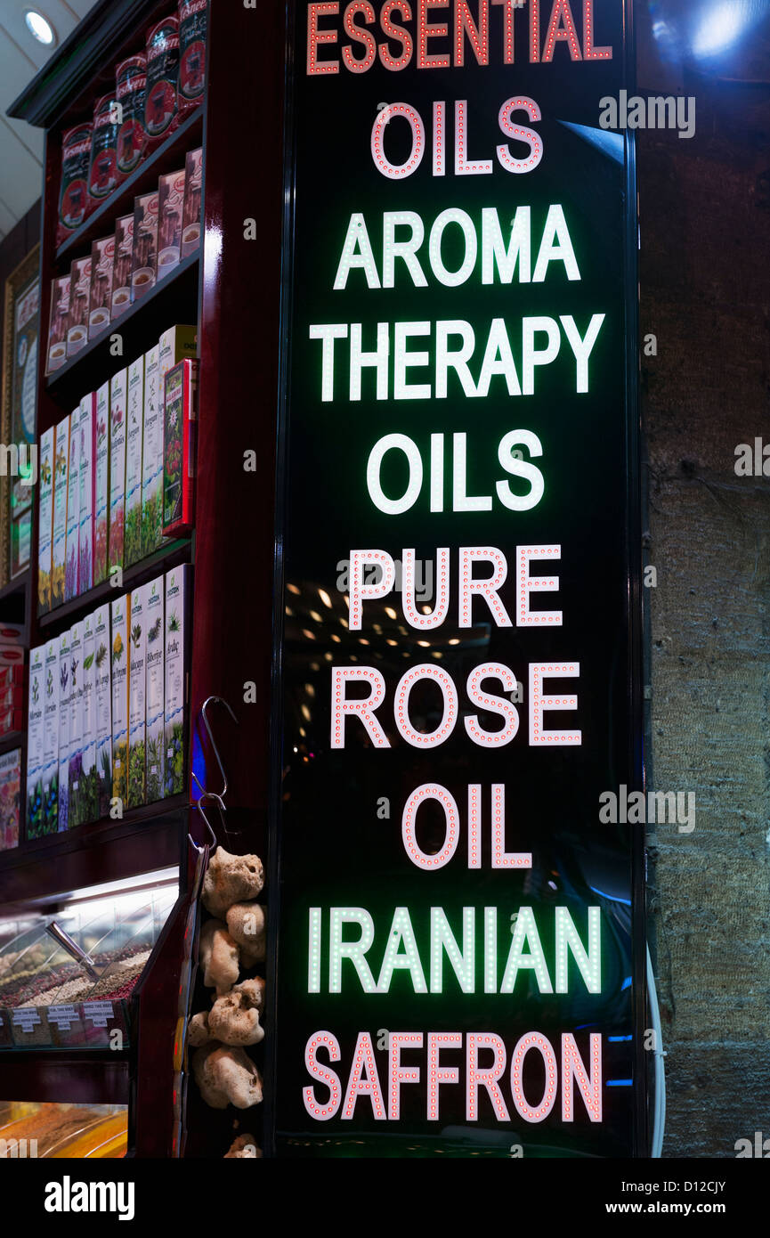 Sign For The Sale Of Essential Oils And Aroma Therapy; Istanbul Turkey - Stock Image