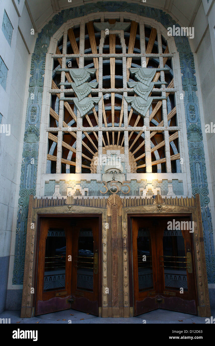 Marine motifs decorating the entrance to the art deco Marine Building, Vancouver, BC, Canada - Stock Image