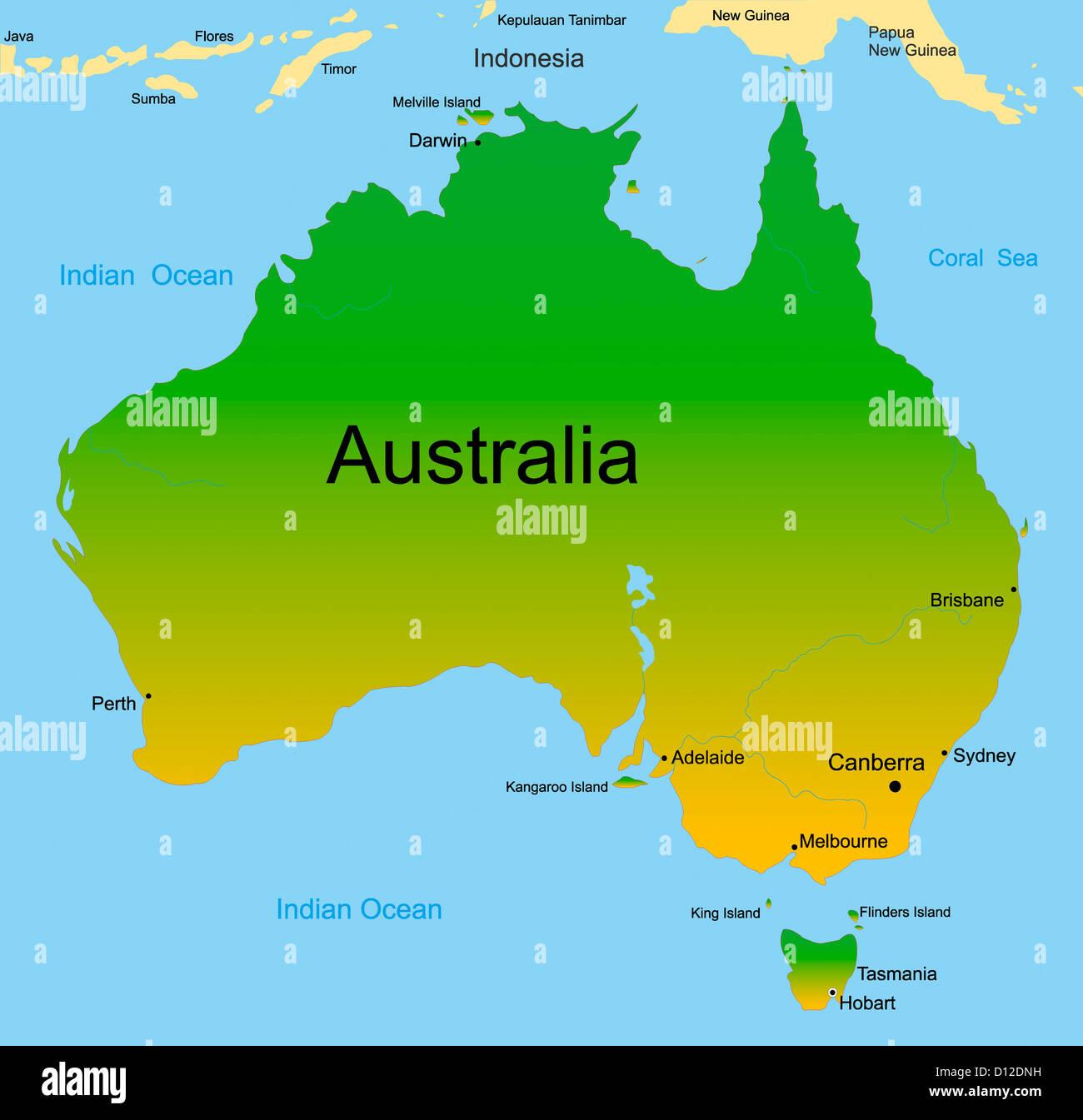 map of australian continent Stock Photo: 52300461 - Alamy