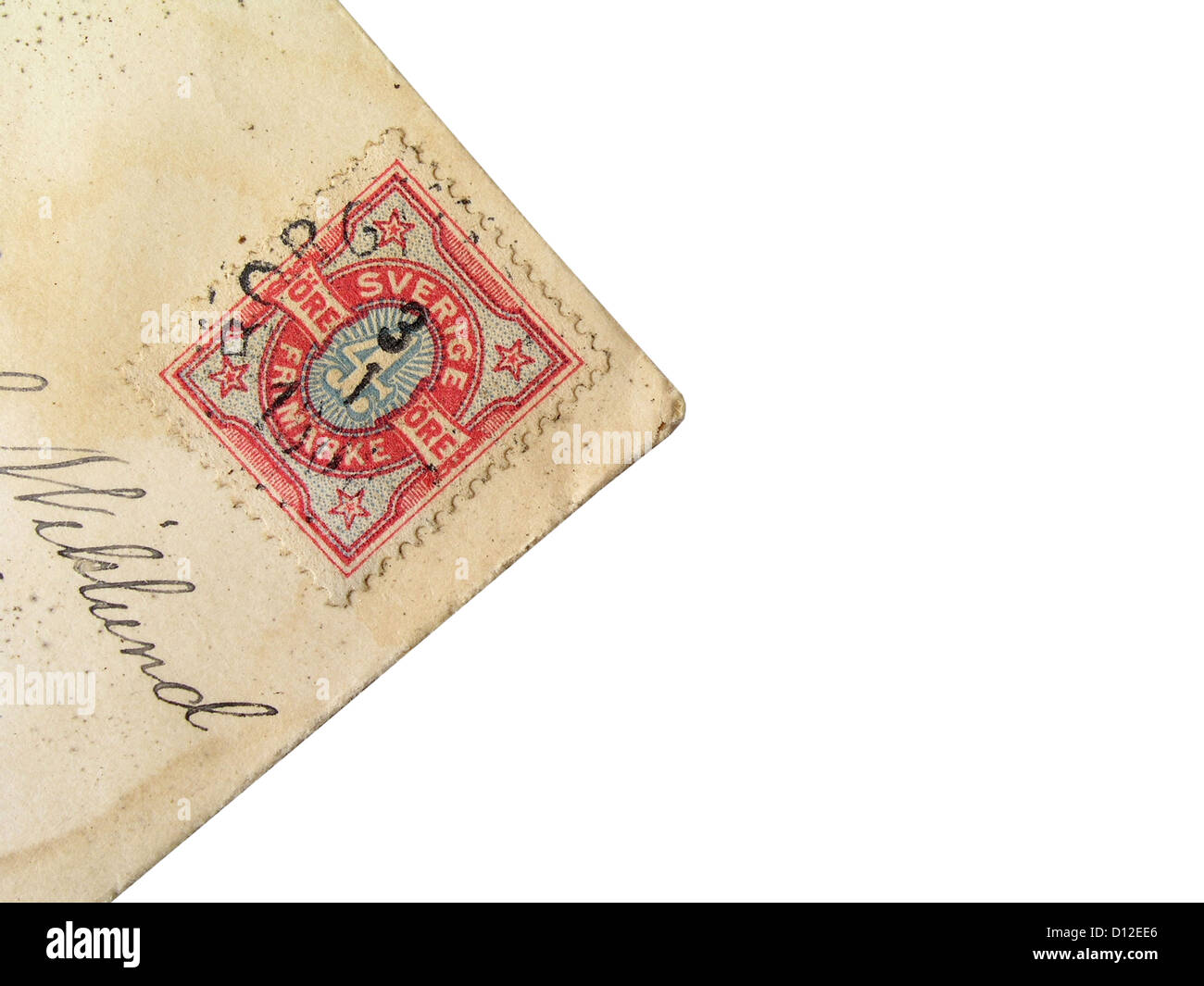 Old stamp of Sweden postage isolated on white - Stock Image