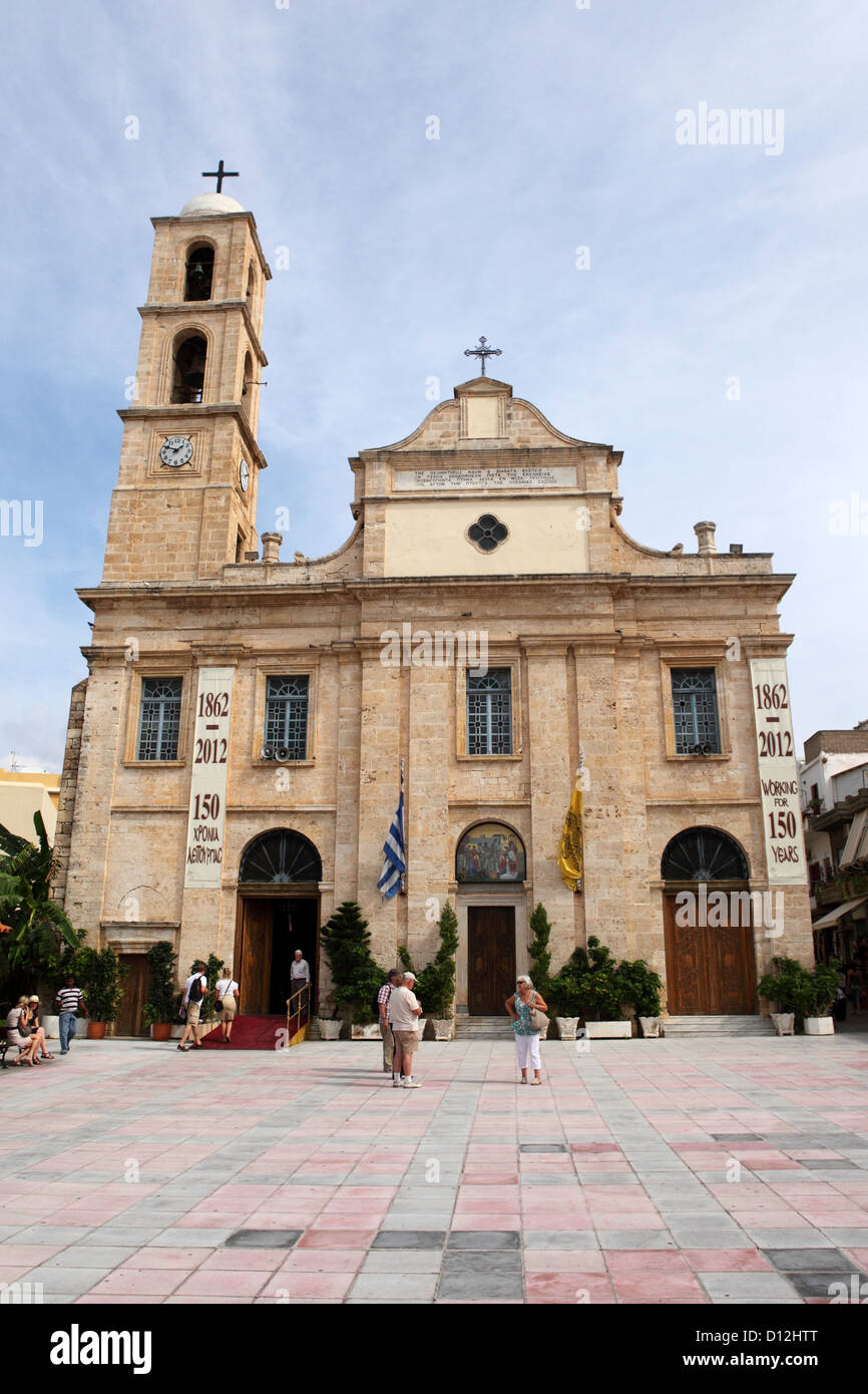 Greek Orthodox Cathedral (Church of the Trimartyri) in Chania on Crete, Greece. Stock Photo
