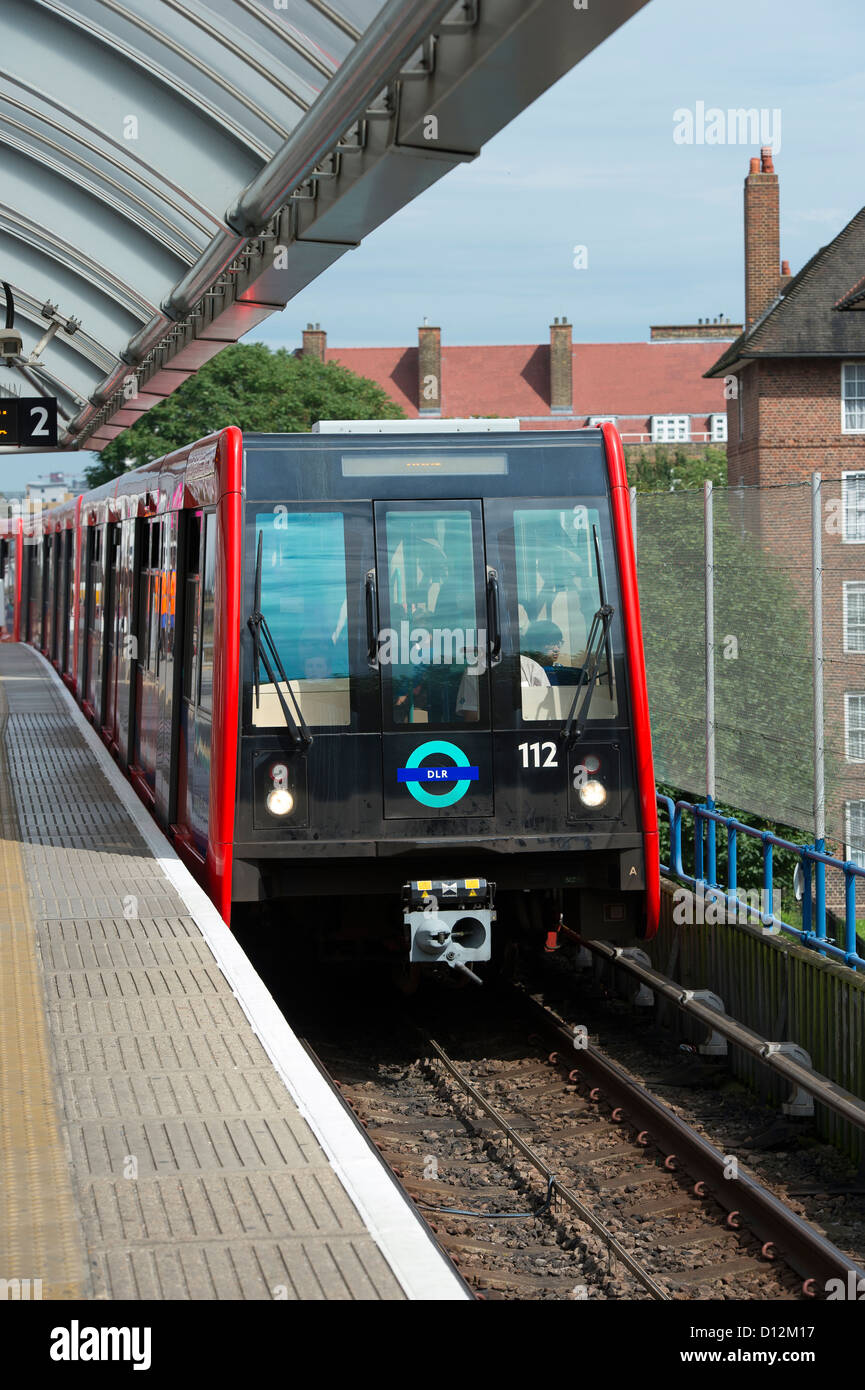 Train on the Docklands Light Railway system, London, England. - Stock Image