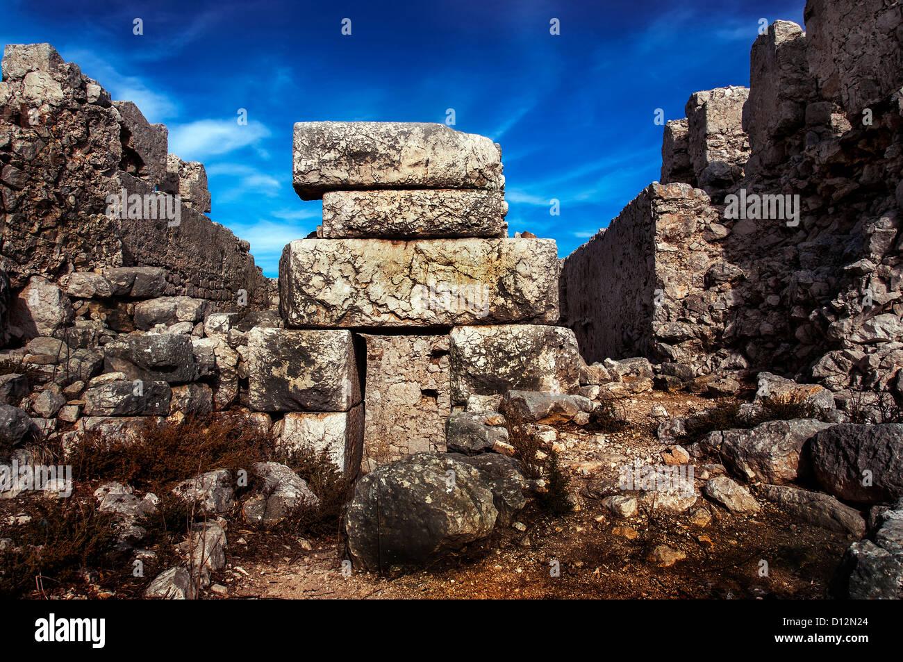 Medieval Castle, Halki. - Stock Image
