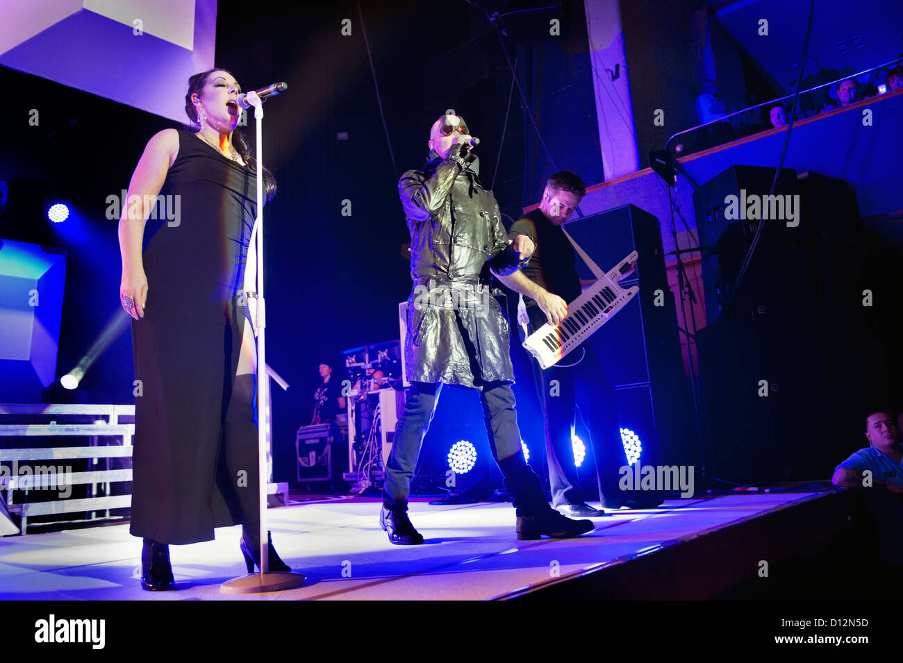Joanne Catherall and Phil Oakey with their band, The Human League in concert at Wolverhampton Civic Hall on 2 December - Stock Image