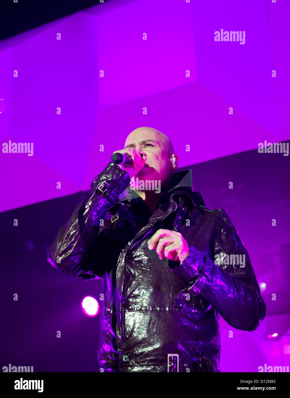 Phil Oakey band leader, with The Human League in concert at Wolverhampton Civic Hall on 2 December 2012 - Stock Image