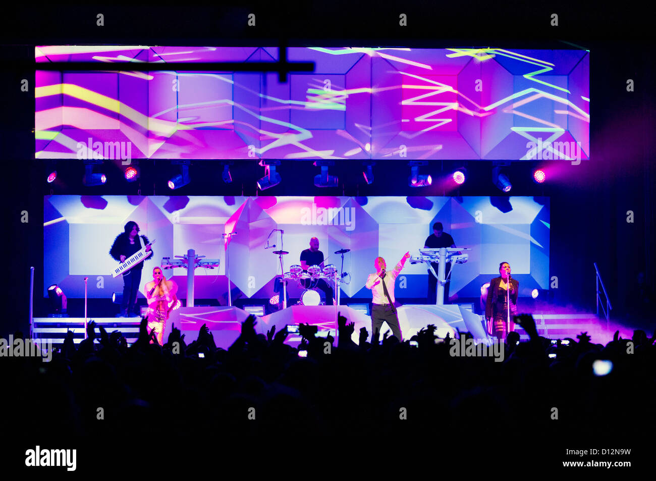The Human League on stage in concert at Wolverhampton Civic Hall on 2 December 2012 - Stock Image