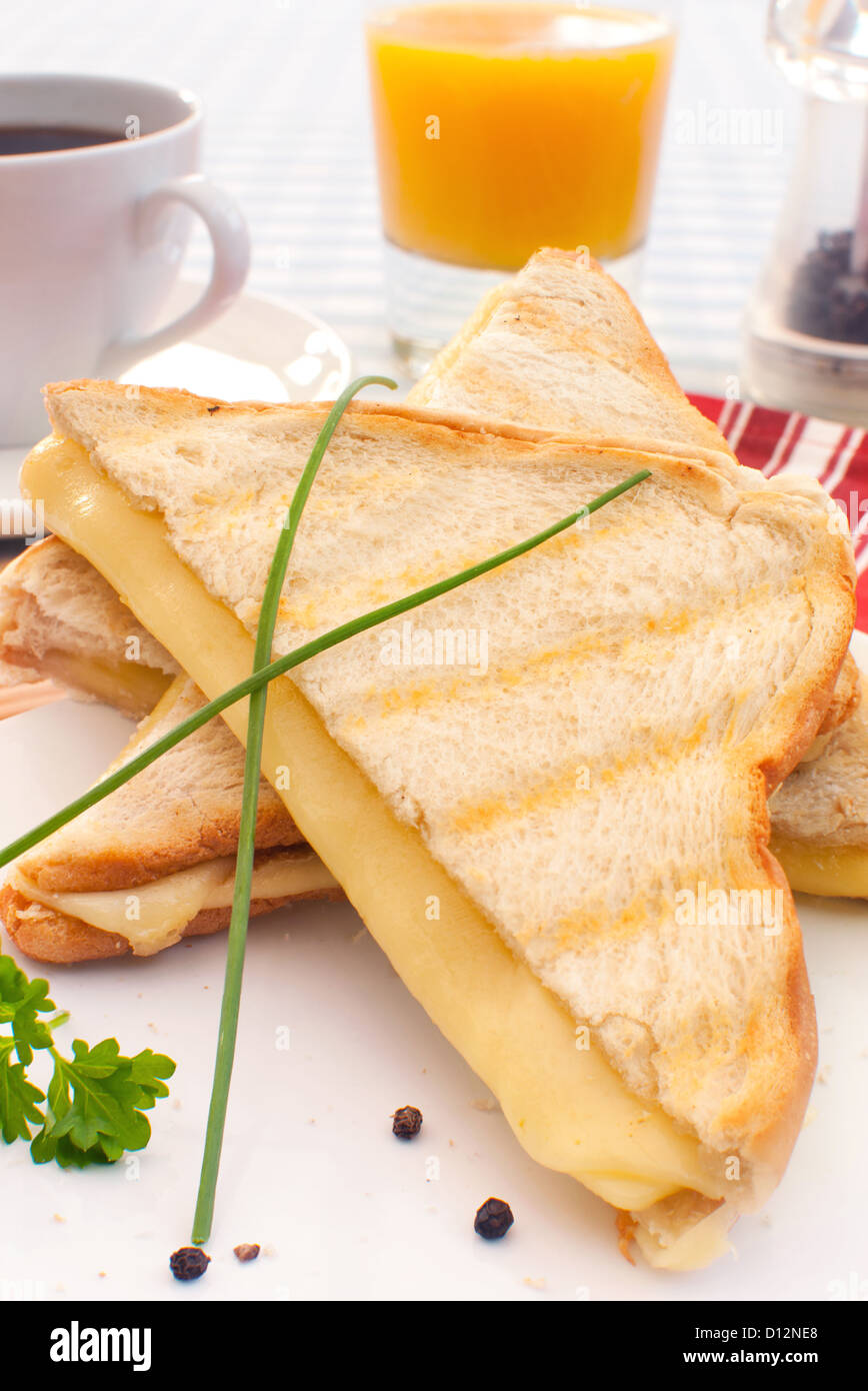 Toasted sandwich with melted cheese - Stock Image