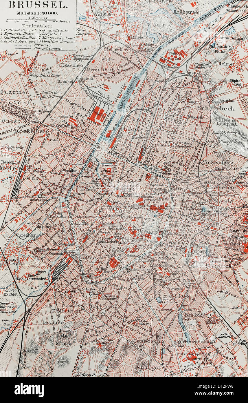 19th century old map of Brussels Stock Photo: 52307620 - Alamy