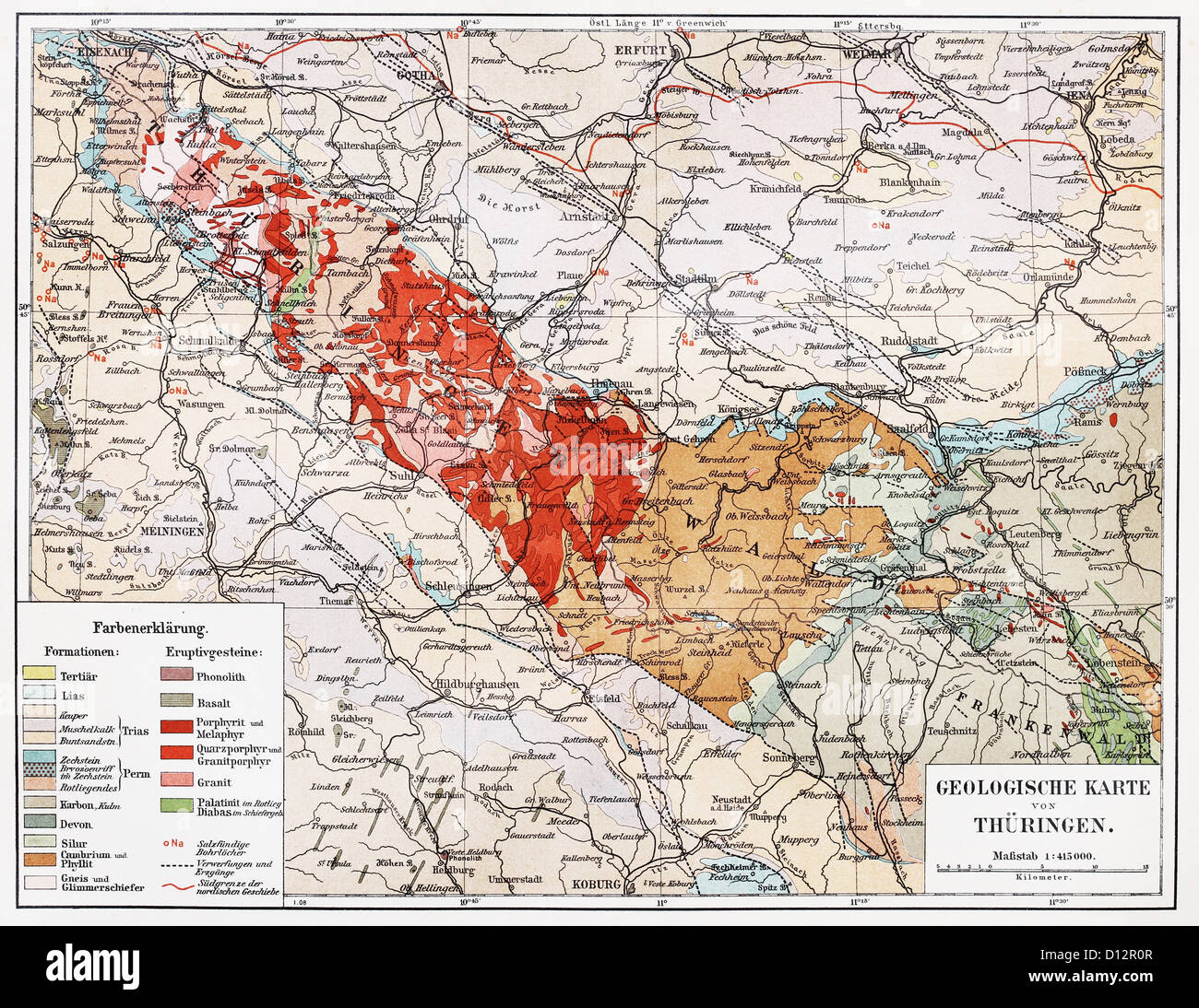 Vintage geological map of Thuringia from the end of 19th century - Stock Image