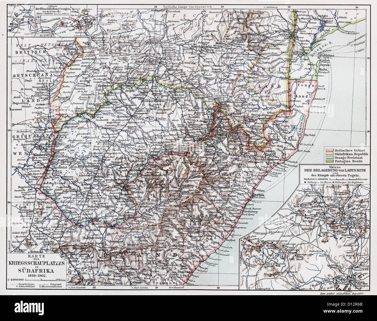 Vintage map of War theater in South Africa, period 1899-1902 - Stock Image