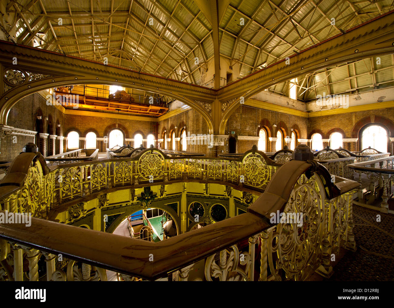 The ornate ironwork of the Abbey Mills Victorian sewage pumping station in East London - Stock Image