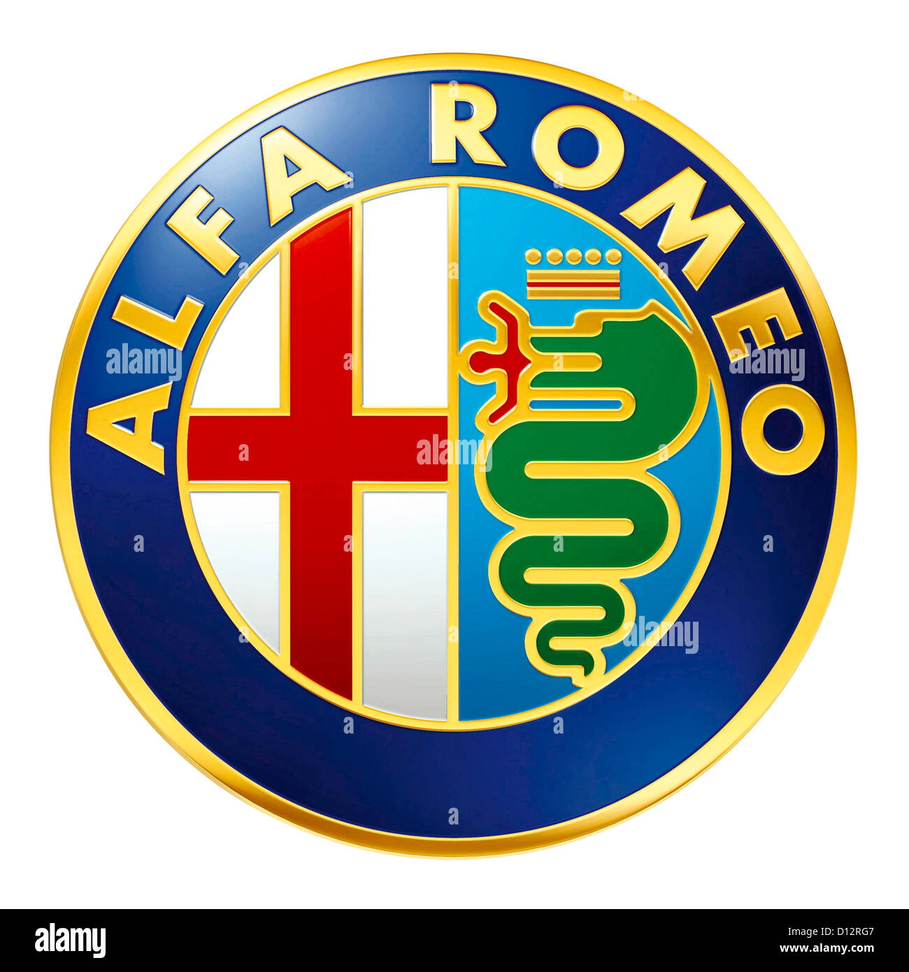 Logo of the make Alfa Romeo of the Italian car manufacturer Fiat Group with seat in Turin. - Stock Image
