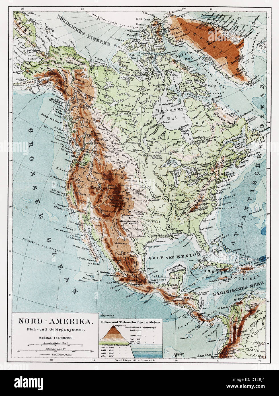 Geographical Map Of America.Geographical Vintage Map Of North America Continent At The End Of
