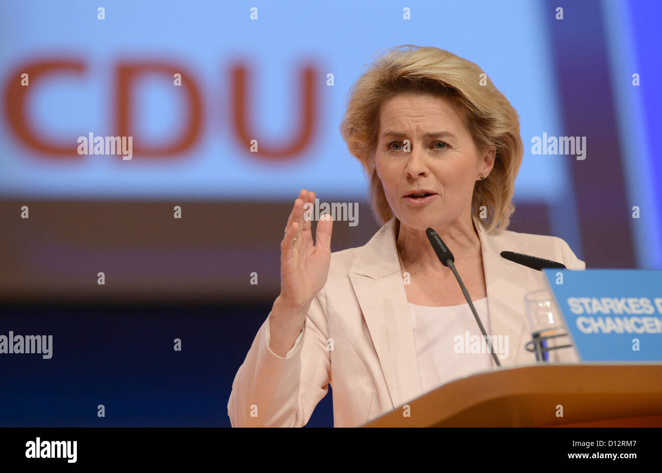 German Minister of Labour Ursula von der Leyen talks at the 25th Federal Party Convention of the Christian Democrats - Stock Image