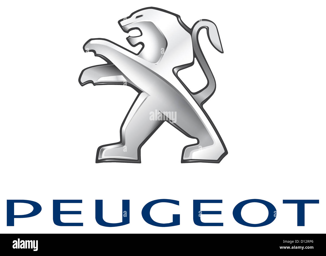 Company logo of the automobile manufacturer Peugeot with seat in Paris. - Stock Image