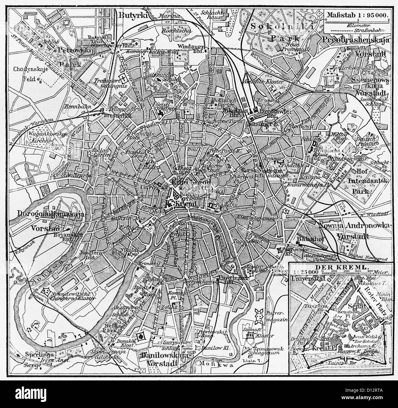 Vintage map of Moscow at the end of 19th century - Stock Image