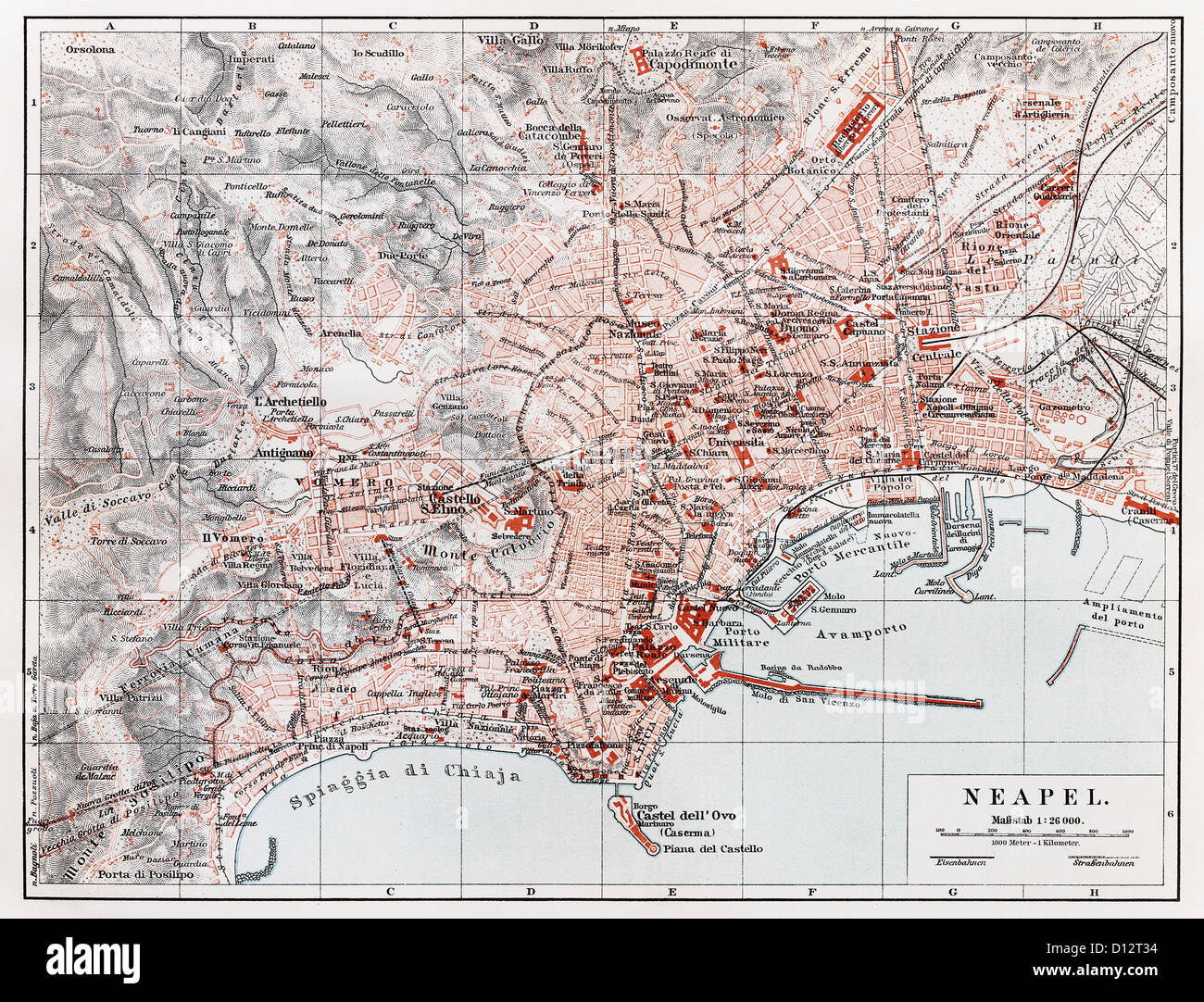 Vintage map of Naples (Napoli) at the end of 19th century - Stock Image