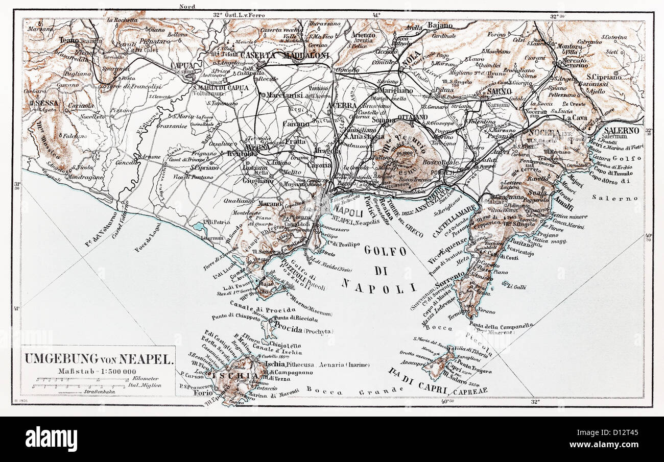 Vintage map of Naples surroundings at the end of 19th century - Stock Image