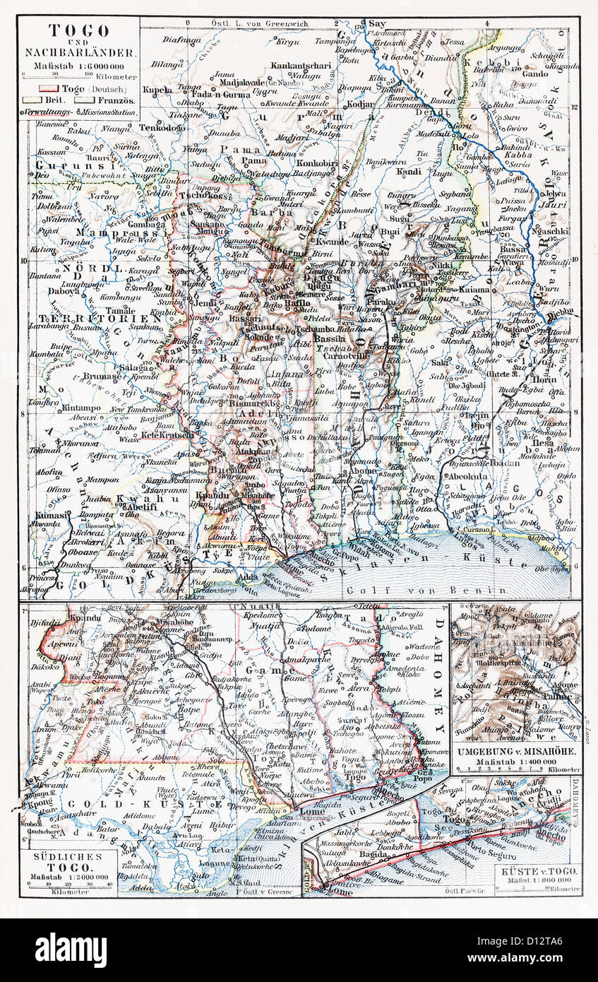 Vintage map of Togo and neighboring countries at the end of 19th century Stock Photo