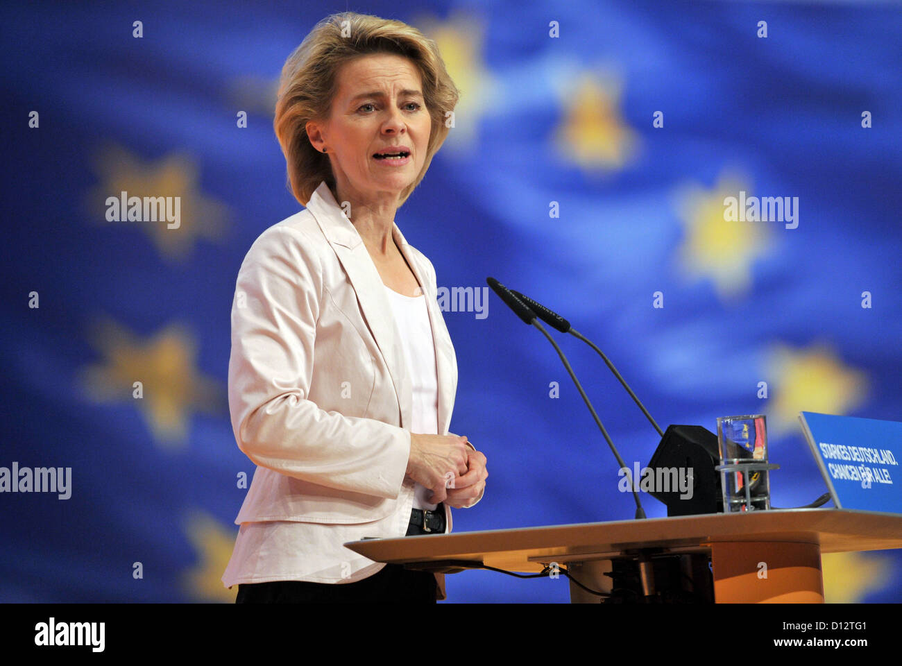 German Minister of Labour and Social Affairs Ursula von der Leyen delivers a speech the 25th Federal Party Convention - Stock Image