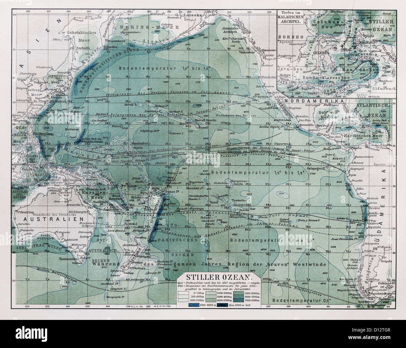 Vintage Map Of Pacific Ocean At The End 19th Century