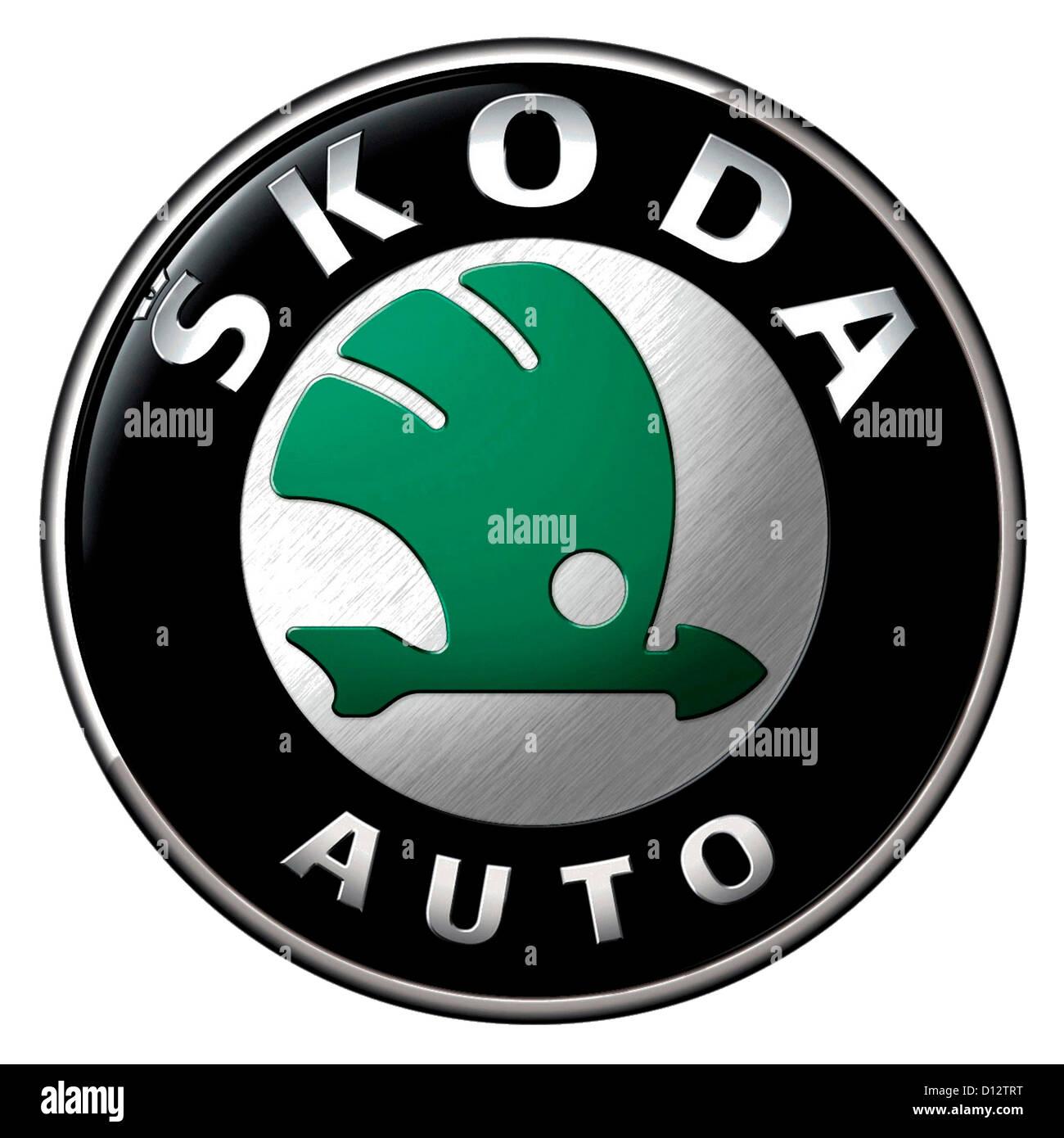 Company logo of the Czech automobile manufacturer Skoda with seat in Mlada Boleslav. - Stock Image