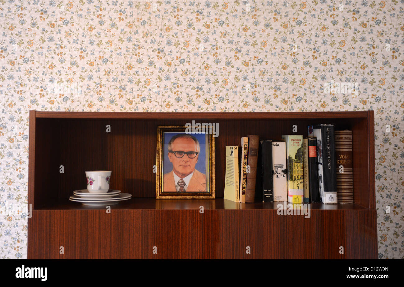 A portrait of Erich Honecker, the head of state of the GDR, stands at the GDR-style hostel 'Ostel' in Berlin, - Stock Image