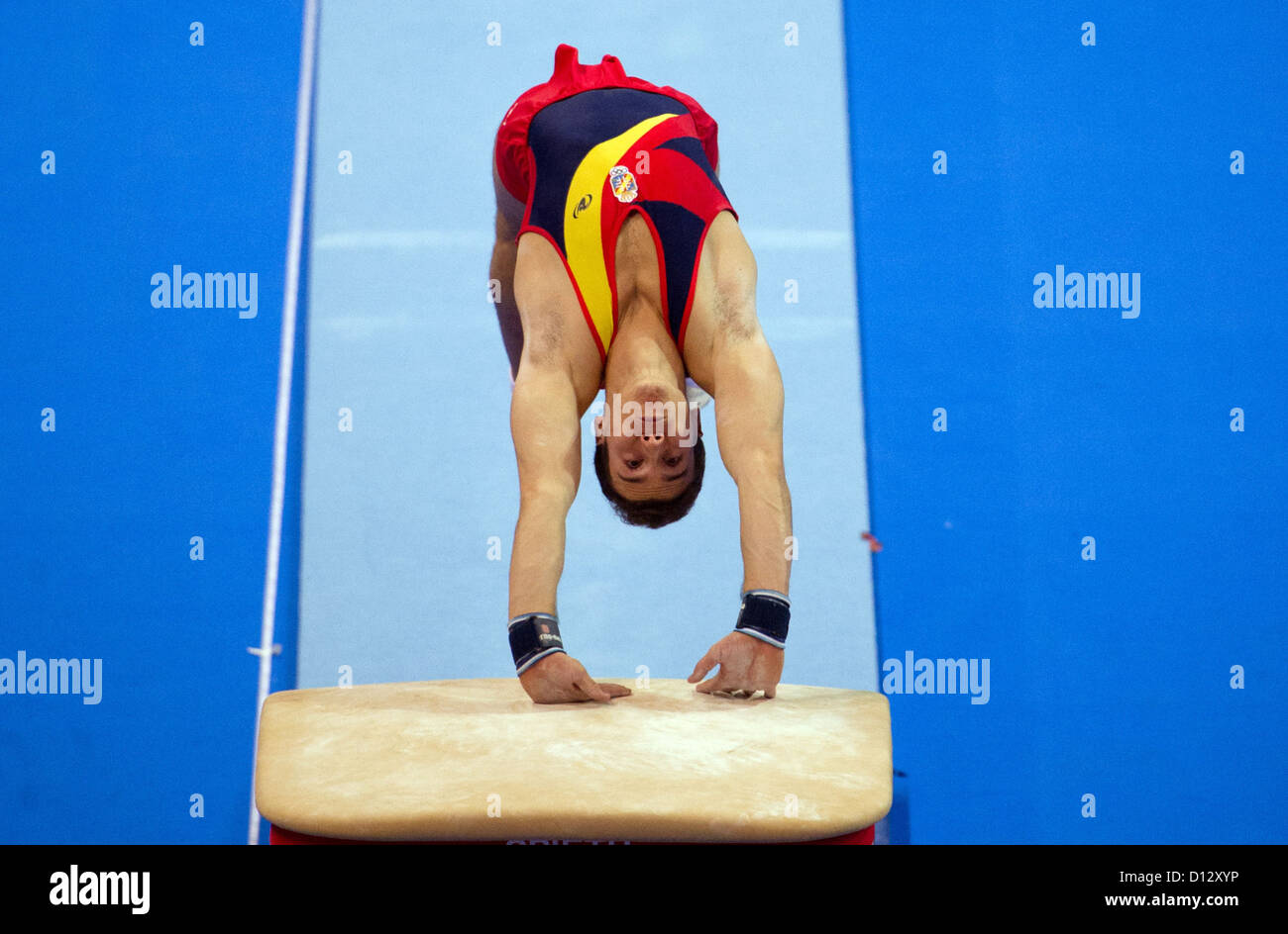 Fabian Gonzales from Spain competes in the category 'jumping' during the athletics world cup in Stuttgart, - Stock Image