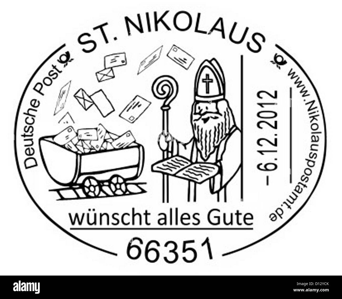 The special postmark of the Nicholas post office is seen in 66351 St. Nikolaus, Germany, 05 December 2012. Since - Stock Image