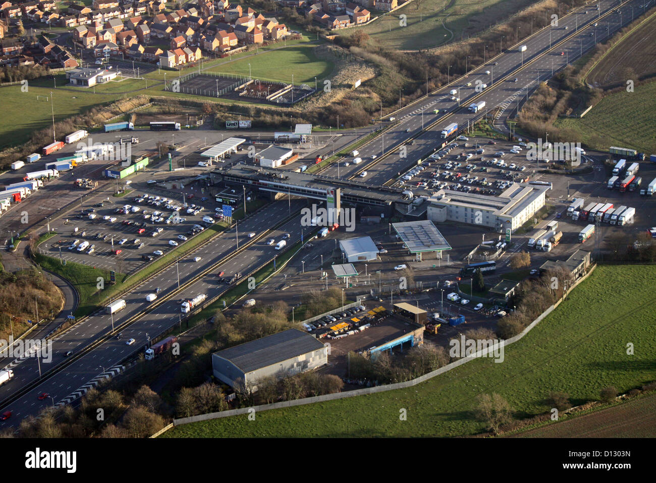 aerial view of Leicester Forest East motorway services on the M1 - Stock Image