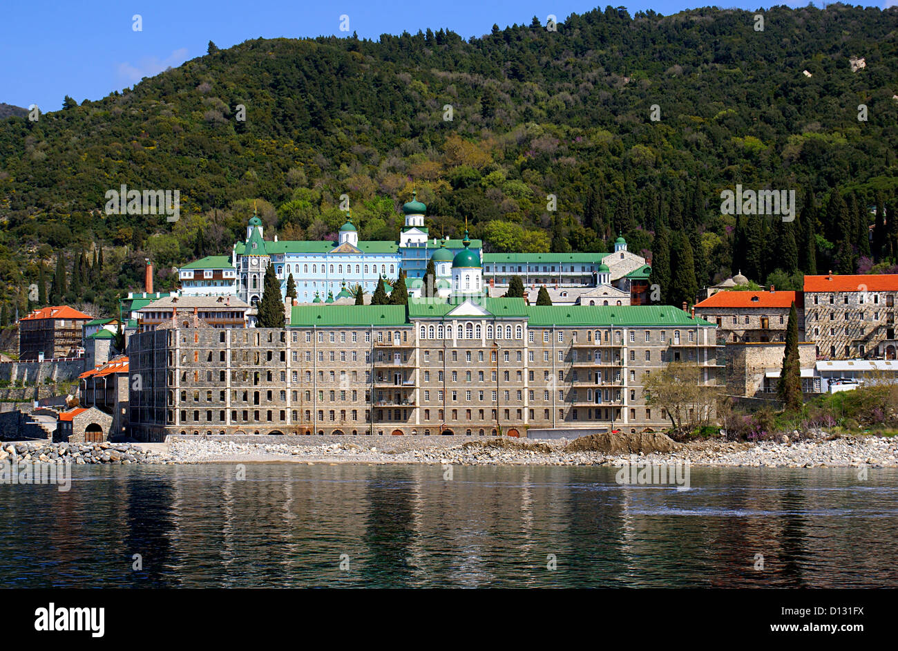 Russian monastery of the Holy Panteleimon at Athos, Greece Stock Photo