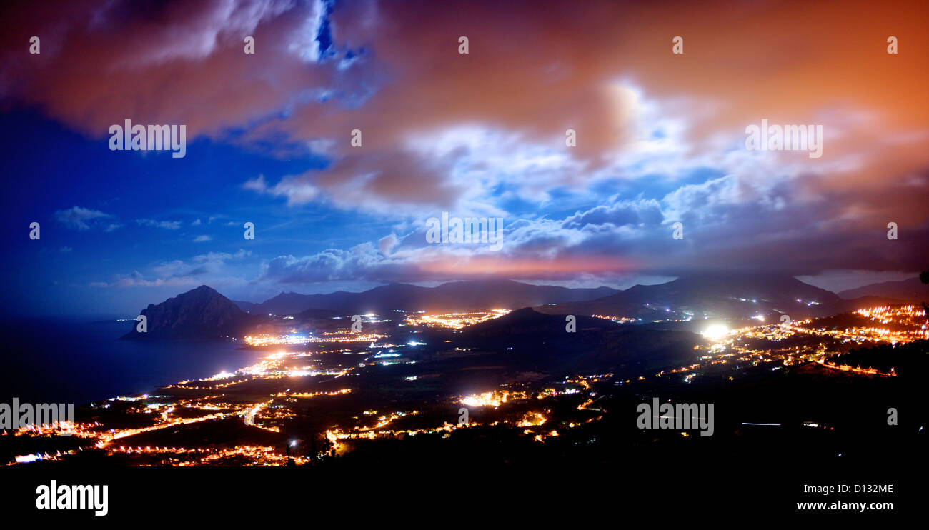 Aerial view of cityscape at night - Stock Image