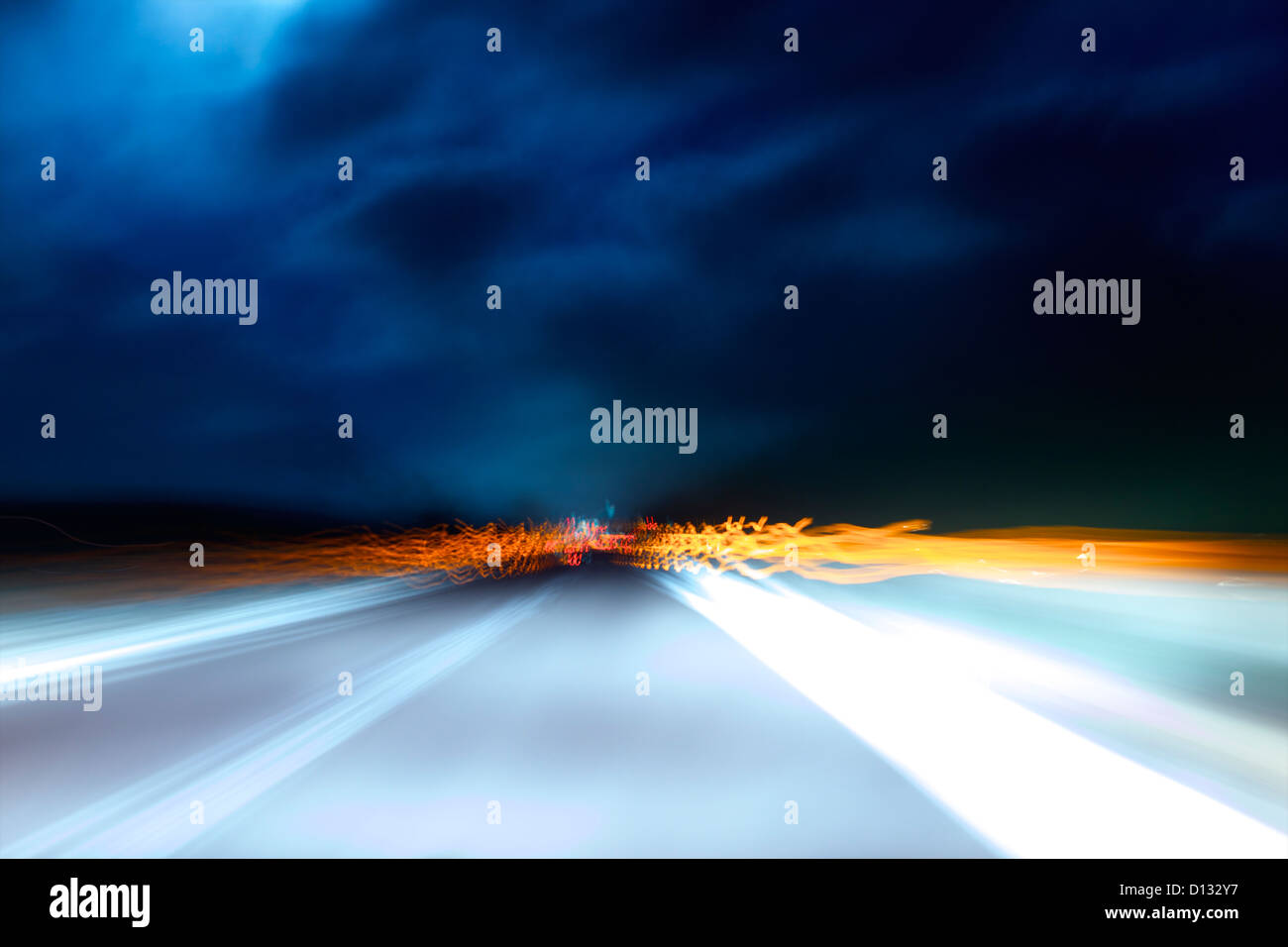 Motion blur of highway scene - Stock Image