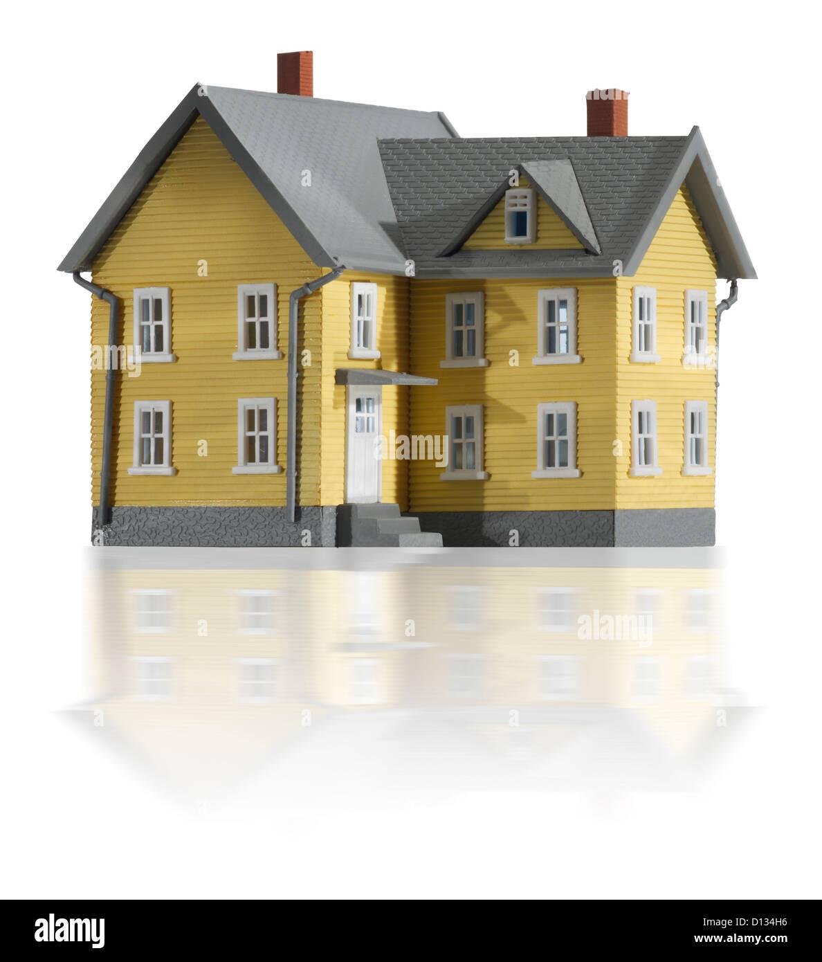 Yellow farm house - Stock Image