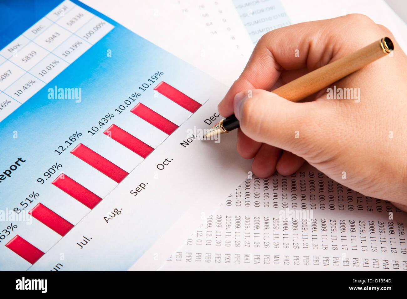 Financial analysis data finance report hand sale Stock Photo ...