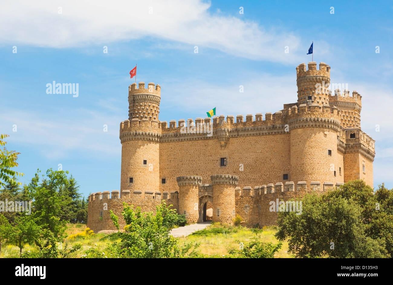 15Th Century Castle Of Los Mendoza; Manzanares El Real Comunidad De Madrid Spain Stock Photo