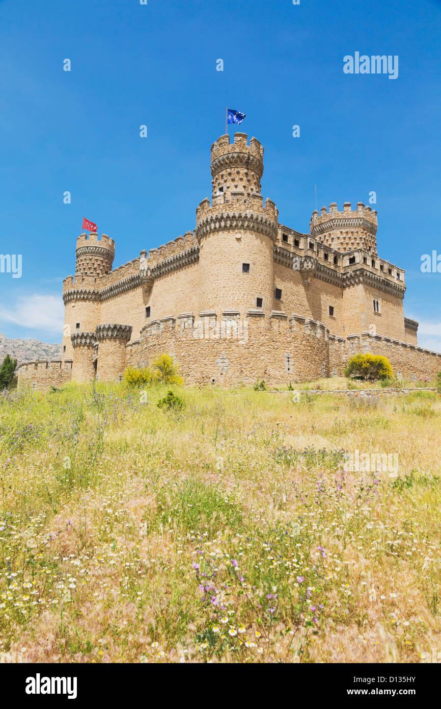 15Th Century Castle Of Los Mendoza; Manzanares El Real Comunidad De Madrid Spain - Stock Image