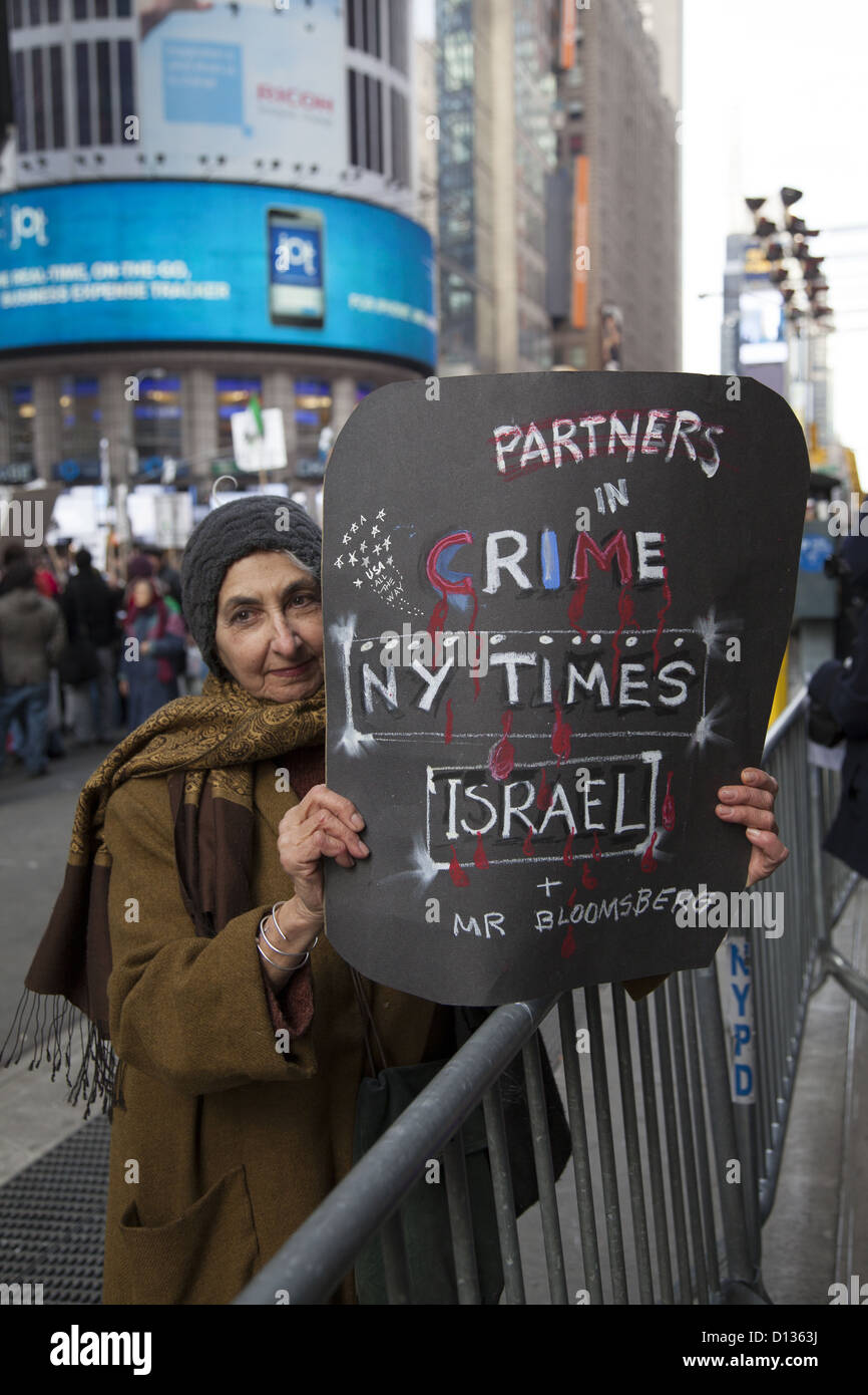 Pro-Palestinian demonstrators  in Times Square, NYC; over the recent upsurge in fighting between Hamas in Gaza and - Stock Image