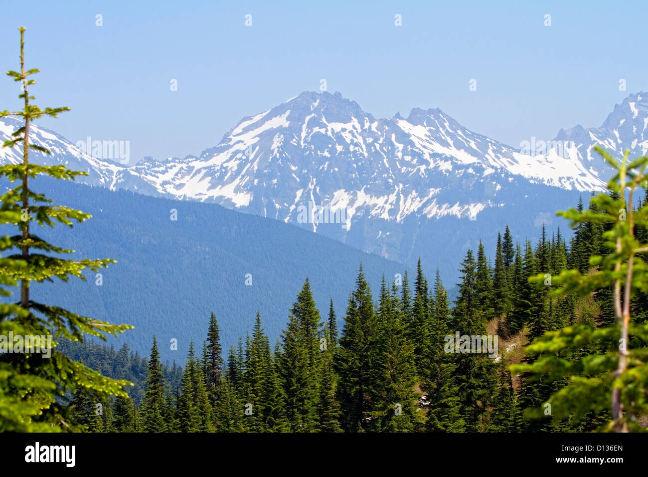 View of mountain peaks from Elk Thurston hike in Chilliwack BC,Canada - Stock Image