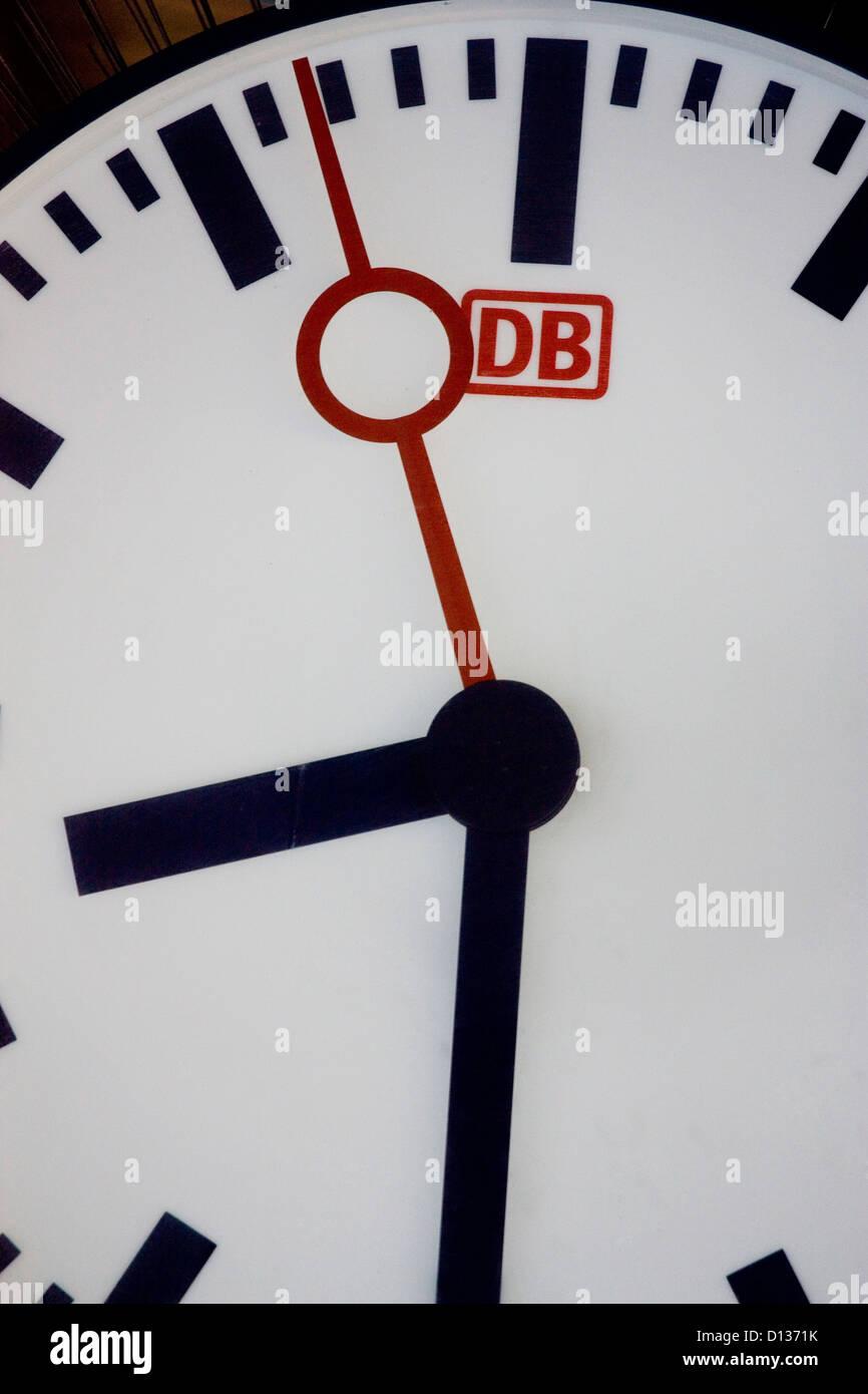 Berlin, Germany, clock on a train platform Stock Photo