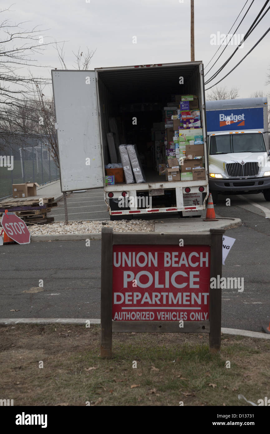 Hurricane Sandy Relief Center along the Jersey Shore in Monmouth County, New Jersey. Local police station used as - Stock Image