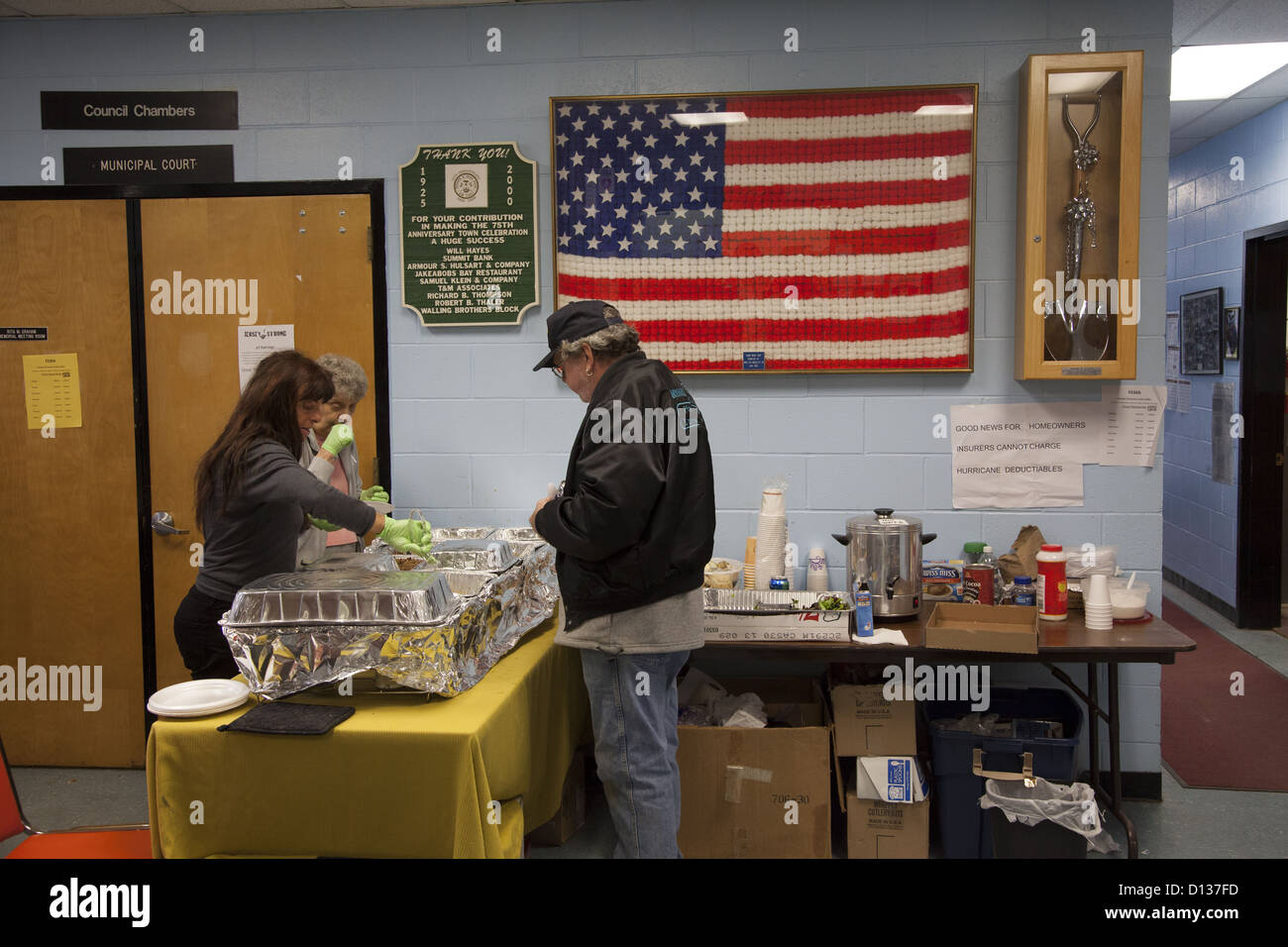 Hurricane Sandy Relief Center along the Jersey Shore in Monmouth County, New Jersey - Stock Image