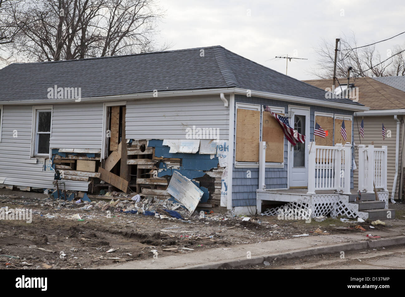 Homes damaged and or destroyed by Hurricane Sandy along the Jersey Shore. Monmouth County, NJ - Stock Image