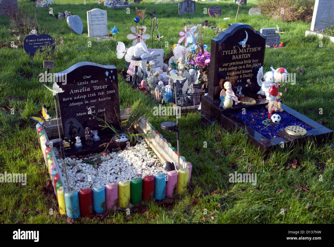 Childrens graves in Haycombe Cemetery Bath Somerset England