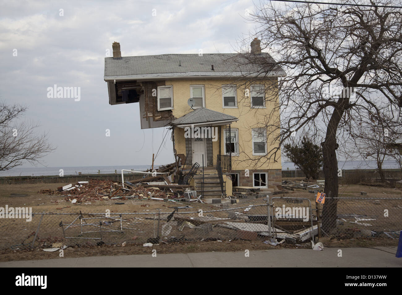 House along the Jersey Shore partially swept away by the wall of water created by Hurricane Sandy. Monmouth County, - Stock Image