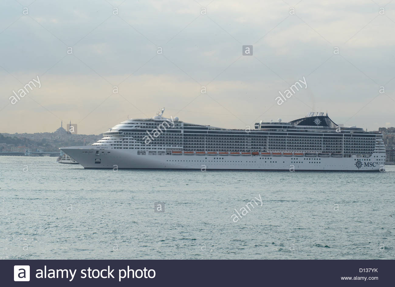 Cruise liner on the Bosphorus in Istanbul - Stock Image