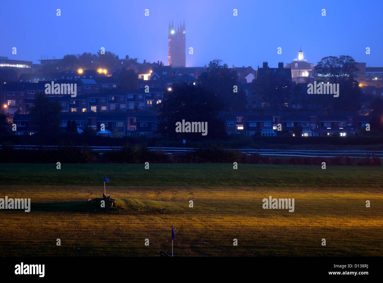 Warwick town centre and golf driving range, Warwickshire, England, UK - Stock Image