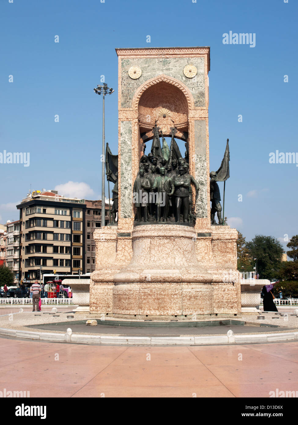 the Monument of the Republic in the Taksim square meydani in Istanbul Turkey - Stock Image