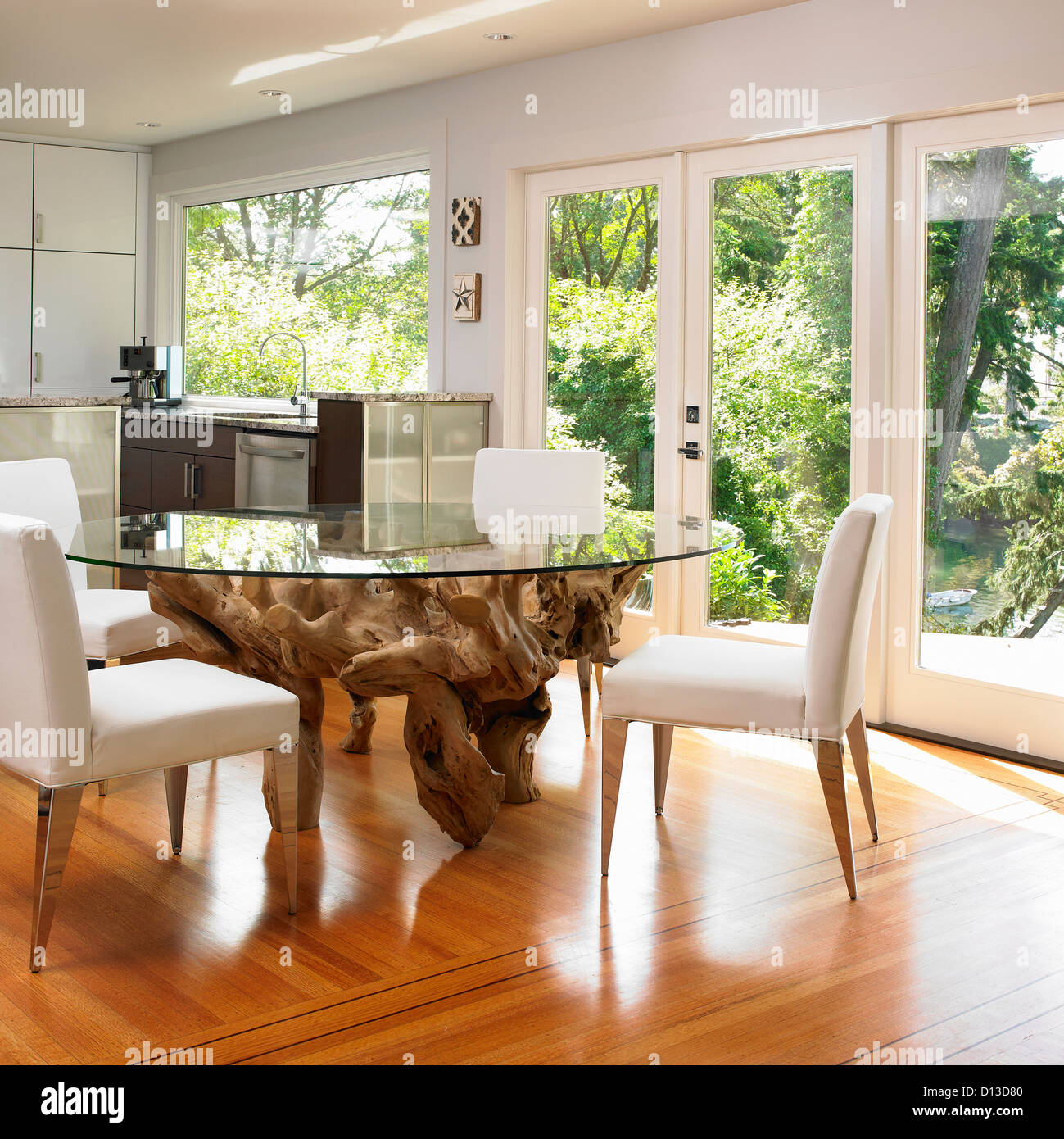 Glass Topped Dining Table With Large Tree Root Base Victoria Vancouver Island British Columbia Canada