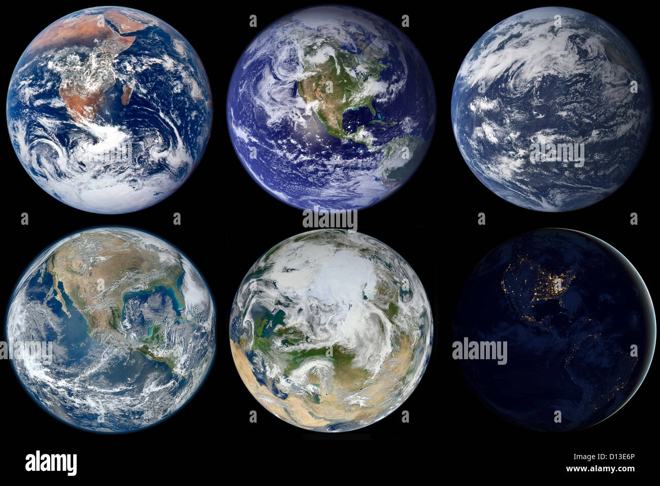 Composite image showing a variety of views of earth from space top composite image showing a variety of views of earth from space top row left to right blue marble 1972 blue marble 2002 aqua marble 2005 publicscrutiny Image collections